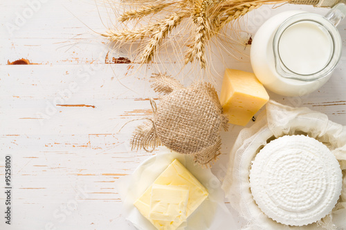 Poster Produit laitier Selection of dairy products