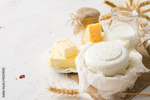 Tuinposter Zuivelproducten Selection of dairy products