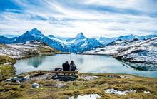 Bachalpsee Lake Landscape Above Grindelwald, Switzerland.