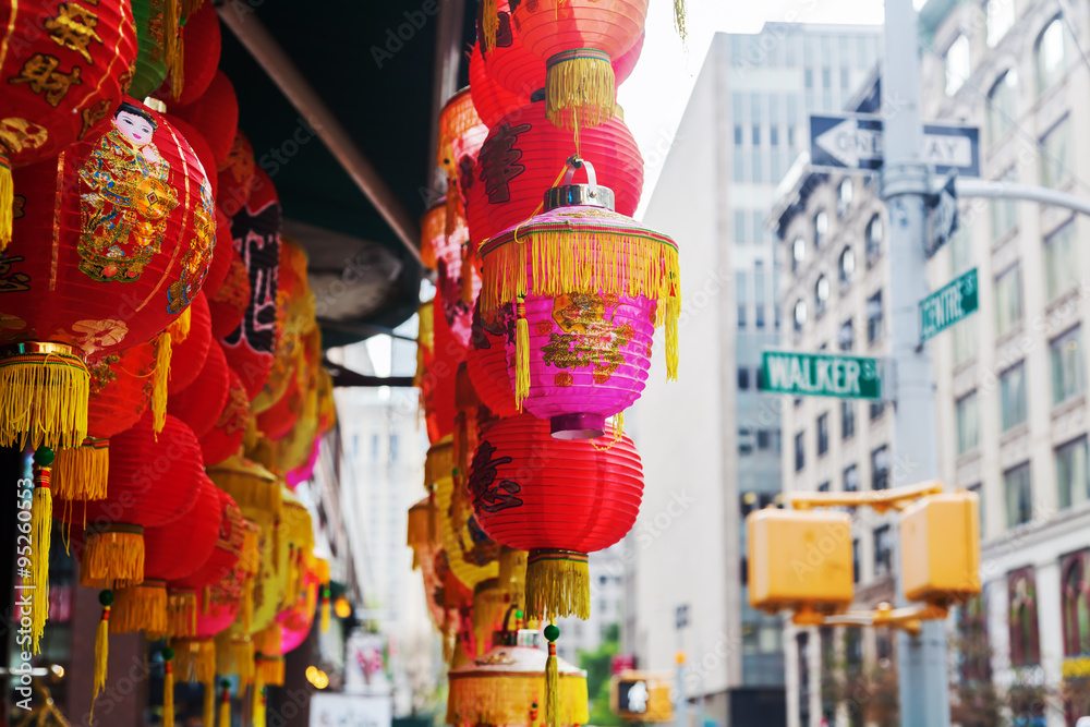Fototapety, obrazy: chinesische Lampen in einem Laden in Chinatown, New York City