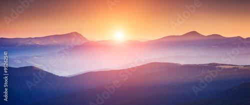 Tuinposter Purper beautiful mountains landscape