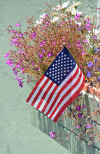 Little American Flag And Flowers