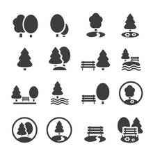 Park Icon Set. Trees, Forest, ...