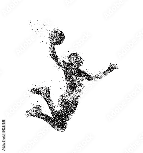 Photo  basketball player, silhouette