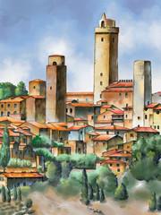Panel Szklany Toskania San Gimignano