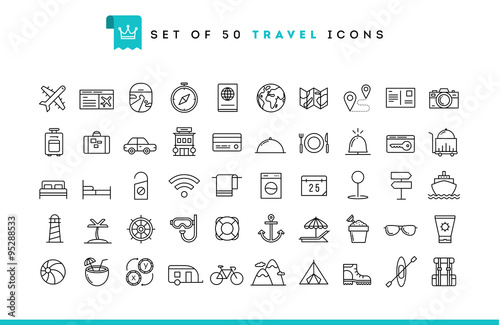 Fotografía  Set of 50 travel icons, thin line style