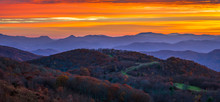 The Surreal Feel Of An Appalachian Mountain Sunrise On A Cool Autumn Colorful Scene Along The Appalachian Trail In North Carolina At Max Patch.