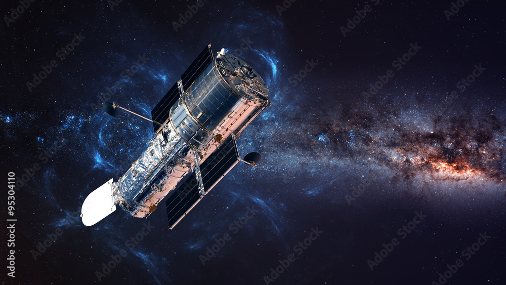 Fototapety, obrazy: The Hubble Space Telescope in orbit above the Earth. Elements of this image furnished by NASA