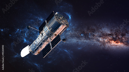 Fotografie, Obraz The Hubble Space Telescope in orbit above the Earth