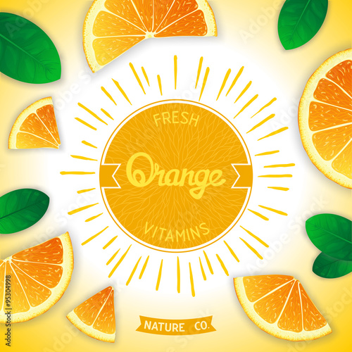 Sunny fruity composition with retro label and orange slices around Canvas Print