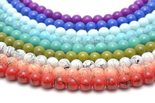 Rainbow Chaplet - Multicolored Glass And Natural Beads Strung On Thread