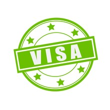 Visa White Stamp Text On Circle On Green Background And Star