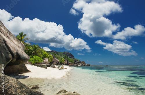 Poster  Strand Anse Source D'Argent auf den Seychellen