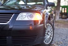 Headlights Of The Black Car Close-up Photo