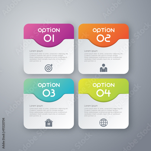 Fotografie, Obraz  Vector illustration infographics four rounded rectangle