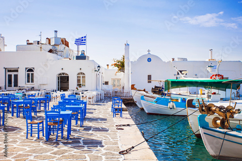 Obraz na plátně Greek fishing village in Paros, Naousa, Greece