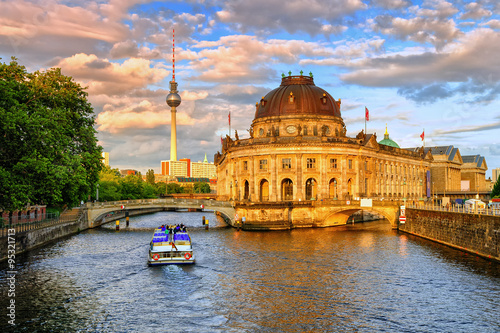 Fotobehang Berlijn Bode museum on Spree river and Alexanderplatz TV tower in center of Berlin, Germany