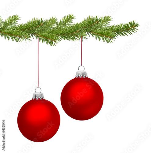 Rote Christbaumkugeln.Zwei Rote Christbaumkugeln Am Tannenzweig Buy This Stock