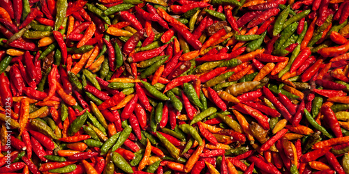 Foto  Spicy chilis spread out for drying
