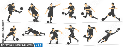 Obraz na plátně 12 vector set of football (soccer) players 02