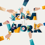 Teamwork concept. Typographic poster.
