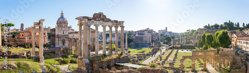Forum Romanum view from the Capitoline Hill in Italy, Rome. Pano Canvas Print