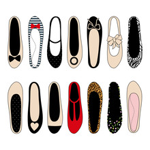 Ballerina Shoes Set Illustration. Varied Fashion Shoes Design Collection. Stylish Vector Illustration. Trendy Fashion Shoes. Choose Your Favorite.