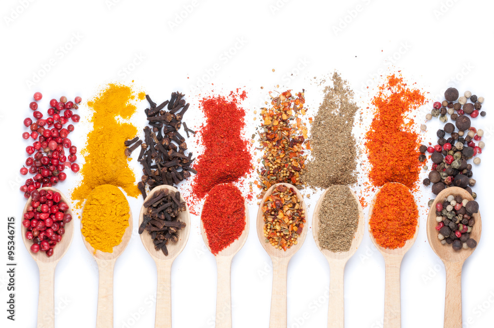 Fototapety, obrazy: collection of spices on spoons, isolated background