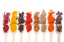 Collection Of Spices On Spoons...