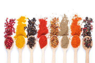 collection of spices on spoons, isolated background