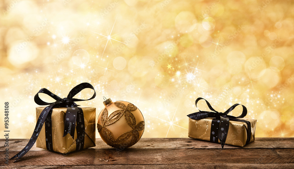 Fototapety, obrazy: golden Christmas background