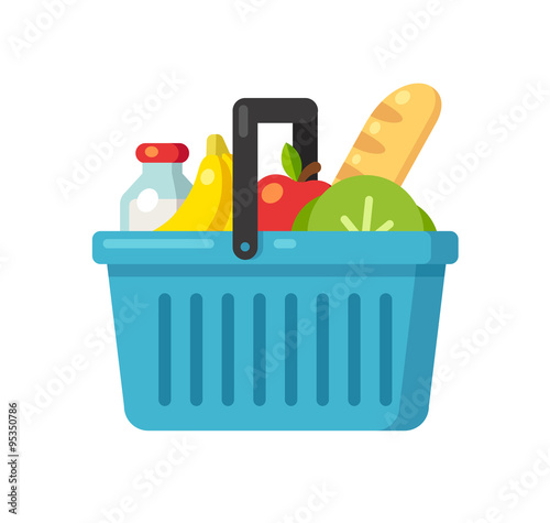 Leinwand Poster Supermarket basket illustration