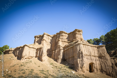 Photo  natural sculptures caused by erosion - Morata de Jiloca, Zaragoza, Aragon, Spain
