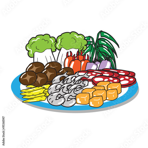 Sukiyaki set of meat vegetable mushroom Wallpaper Mural