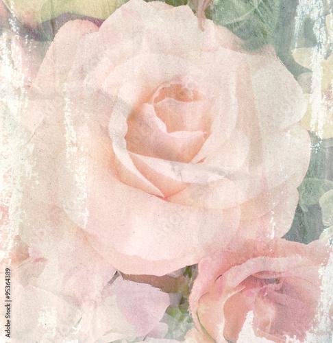 Keuken foto achterwand Retro Flower vintage, rose with paper texture background