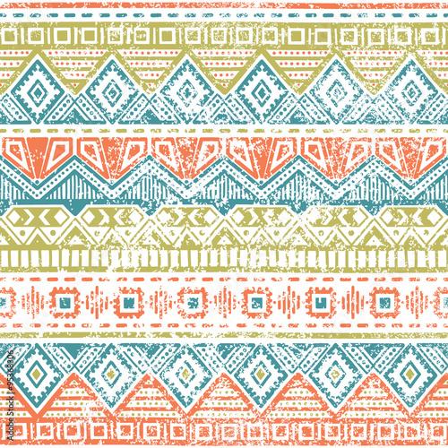 Poster Boho Stijl Seamless ethnic background. Vintage vector illustration.
