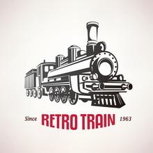 Retro Train, Vintage  Vector Symbol, Emblem, Label Template