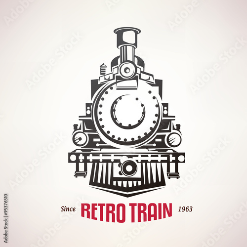 Fotomural retro train, vintage  vector symbol, emblem, label template