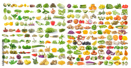 Staande foto Groenten set of vegetable and fruit isolated on white background