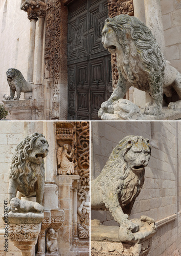 Fotografie, Obraz  Collage of Altamura Cathedral lions, Apulia, Italy