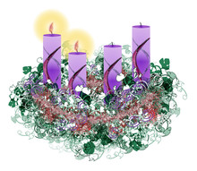 Decorated Floral Advent Wreath With Two Advent Candles Burning,