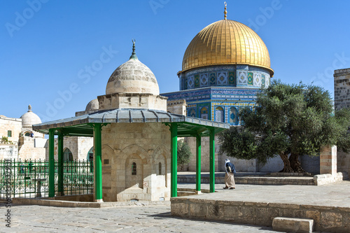 Poster Moyen-Orient Israel, Jerusalem, the Top of the Rock mosque on the Temple Mount (Har Habait)
