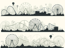 Vector Illustration. Ferris Wheel. Carnival. Funfair Background. Circus Park. Roller Coaster