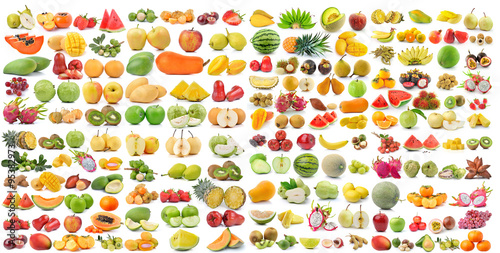 set of fruit isolated on white background