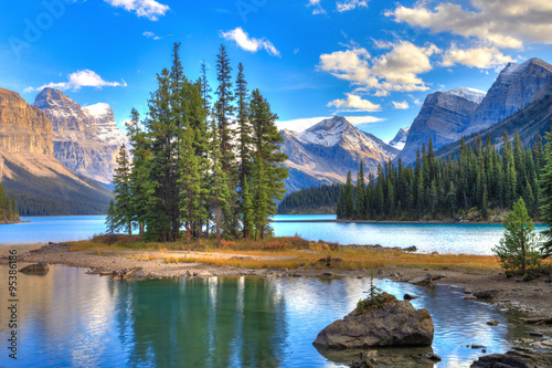 Spirit Isalnd in Maligne Lake Wallpaper Mural
