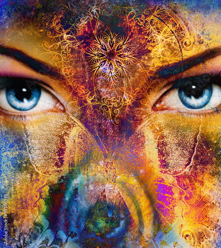 Fototapety, obrazy:  illustration of a butterfly and woman eye , mixed medium, abstract color background