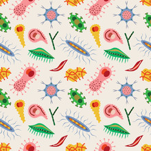 Seamless Pattern With Microbes