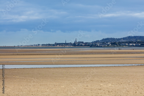 Photo  Dun Laoghaire and Blackrock area of Dublin as seen from the Sandymount Beach