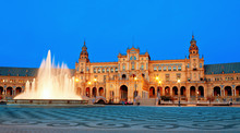 Fountain And Central Building At Plaza De Espana. Seville, Spain