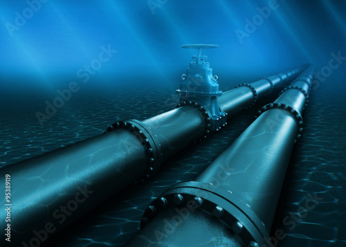 3d Illustration of oil pipeline lying on ocean bottom under water Wallpaper Mural